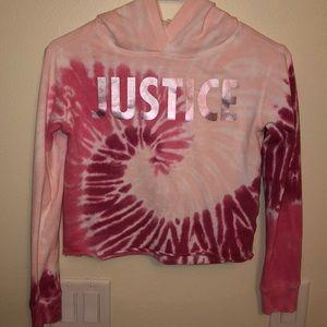 LIKE New Cropped Pink 💗 Tie Dye JUSTICE Hoodie 🎀